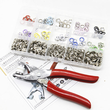 110pcs 9.5mm Colorful Round Metal Ring Button with Fastener Installation Tool for Children and Adult Clothes
