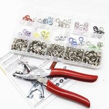 Botón de anillo de Metal redondo colorido de 110 Uds., herramienta de instalación de cierre para ropa de niños y adultos, 9,5mm