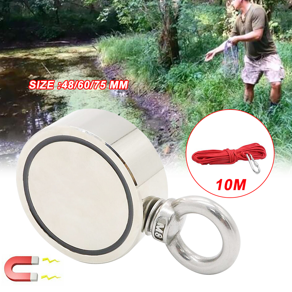 200/300/500KG Strong Powerful Round Double Side Neodymium Metal Magnet Detector Neodymium Fishing Kit With Ring 3