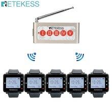 Retekess 5 pçs relógio receptor + td005 cinco teclas botão de chamada sem fio sistema chamada pager transmissor sem fio restaurante equipamentos