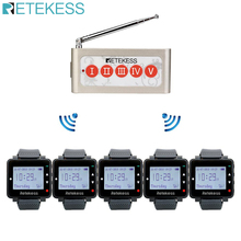 Retekess 5 stücke Uhr Empfänger + TD005 Fünf Tasten Call Taste Wireless Aufruf System Wireless Pager Sender Restaurant Ausrüstung