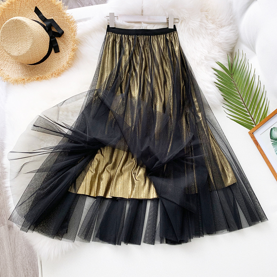 Gold Skirts Women Mesh Tulle Midi Black A-line Skirt 2020 Spring Summer Glossy Lining 4 Colours Elastic Waist Pleated Big Size