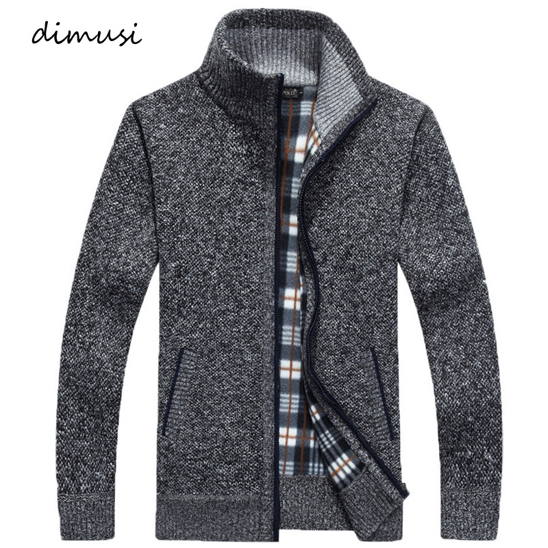 DIMUSI Winter Men's Sweater Coats Casual Mens Cardigan Sweaters Men Stand Collar Slim Fit Knitted Ziphoodie Pullovers Clothing