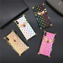 Luxury Brand Bling Love Heart Bee สแควร์สำหรับ Samsung Galaxy S9 S10 Lite J4 J6 Plus S8 หมาย(China)