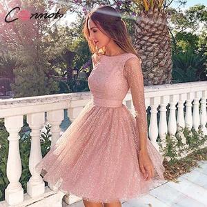 Image 1 - Conmoto Elegant Pink Backless Women Dress Female 2019 Autumn Winter High Waist Dress Fashion Mesh Sequin Vestidos
