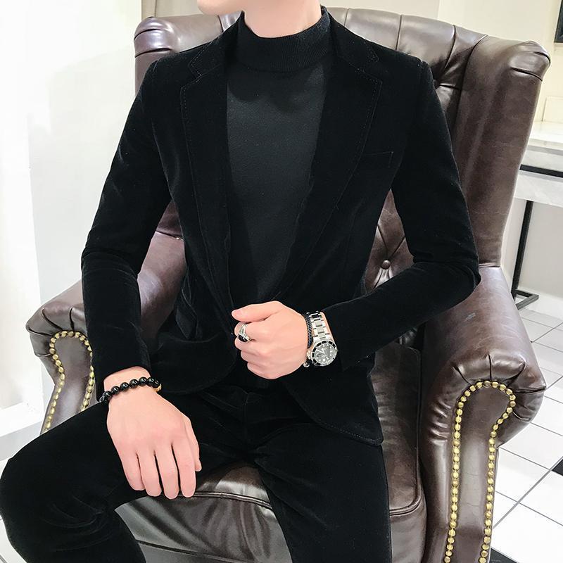 Velvet Slim Fit Mens Suits With Pants One Button Prom Stage Wedding Tuxedos 2020 Spring 2 Pieces Male Set Suit Jacket Pants XXXL