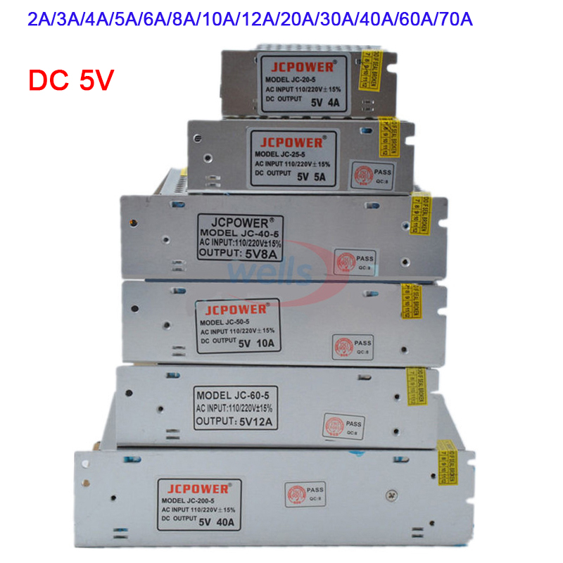 Wholesale DC 5V Lighting Transformer 2A/3A/4A/5A/6A/8A/10A/12A/20A/30A/40A/60A/70A led strip Switching Power Supply led driver