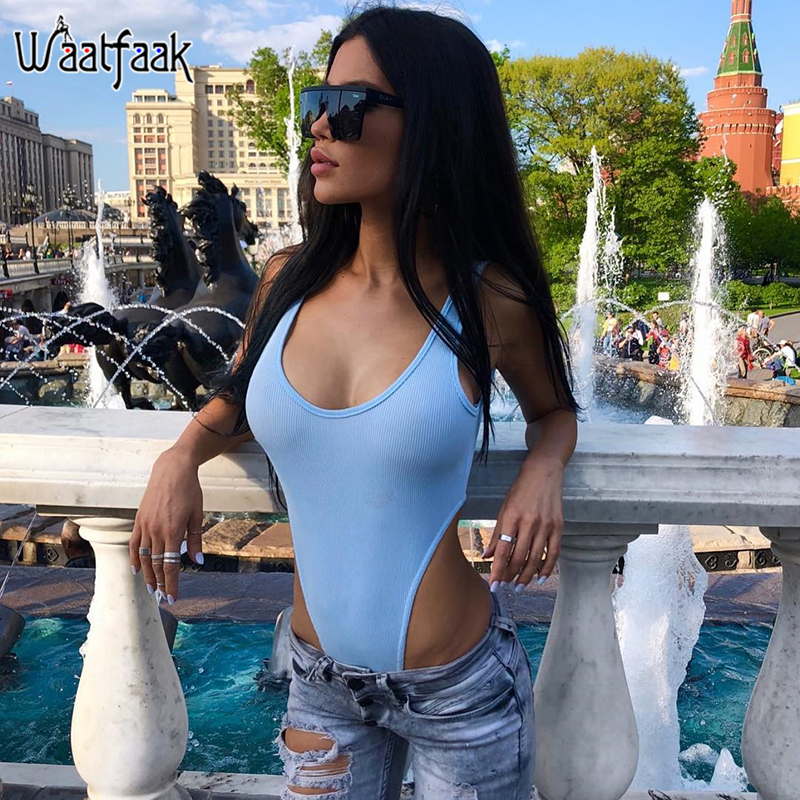 Waatfaak High Waist Bodycon Bodysuit Workout Outfit Knitted Sleeveless Spring Summer Casual Body Suit Femme Solid Black Bodysuit