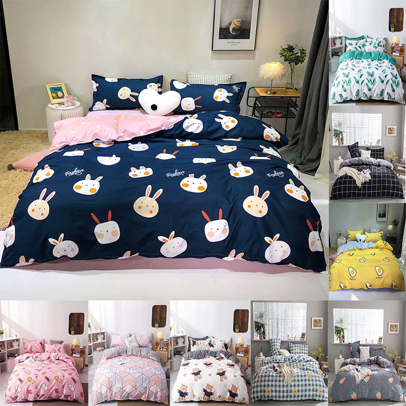 4pcs Home Textile Anime Bedding Children Bedding Sheets Quilt Cover Pillow Case Simple Rural Wind Polyester Bedding Set