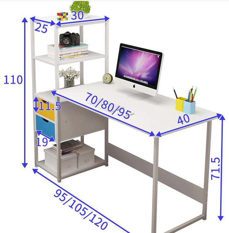 Купить с кэшбэком 120cm simple Computer desk student writing desk with bookshelf combination notebook table bedroom furniture