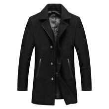 2019 Autumn and Winter New Mens Casual Fashion Woolen Coat Thicken Trench Overcoat Medium Long Jackets