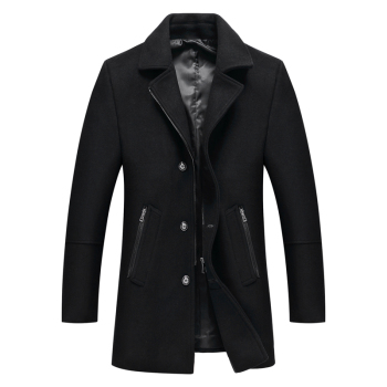 2019 Autumn and Winter New Men's Casual Fashion Woolen Coat Thicken Woolen Trench Coat Overcoat Medium Long Jackets