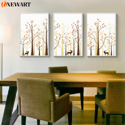 Forest Deer Nordic Canvas Painting Abstract Home Design Decoraion Picture for Living Room Wall Art Modern Poster Art Unframed