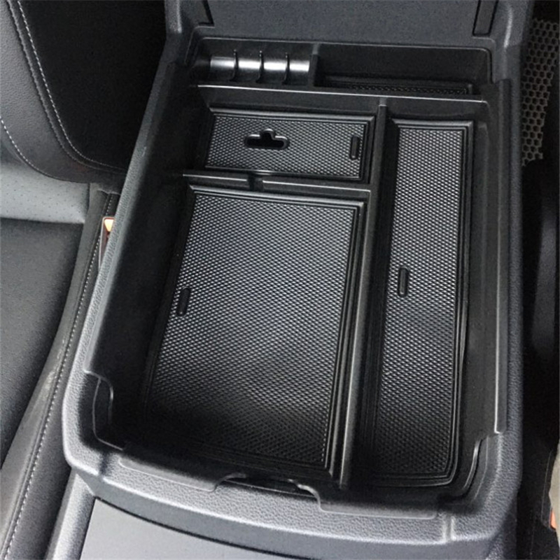 Black Central Console Armrest Storage Box Tray For VW Teramont Atlas 2017 2018