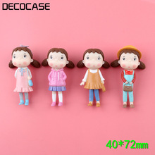 DECOCASE 4pcs Cartoon Girl Gift Slime Charms Beads Headwear Flatback Crafts Ornaments Decoration Phone Case DIY Accessories