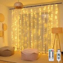 3m 100/200/300 LED cortina de la secuencia luz Flash de Garland adornos navideños para el hogar habitación adorno 2021 Feliz Año Nuevo