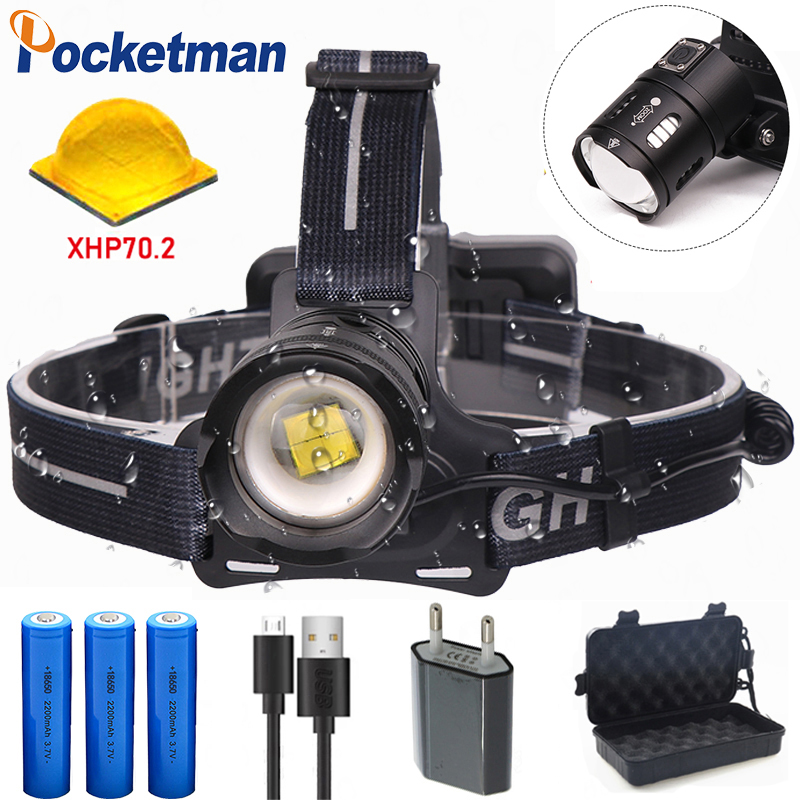 XHP70.2 Headlamp Led Rechargeable Headlight Head Lamp Use 3*18650 Battery Torch Waterproof Zoomable Running Light With Free Gift
