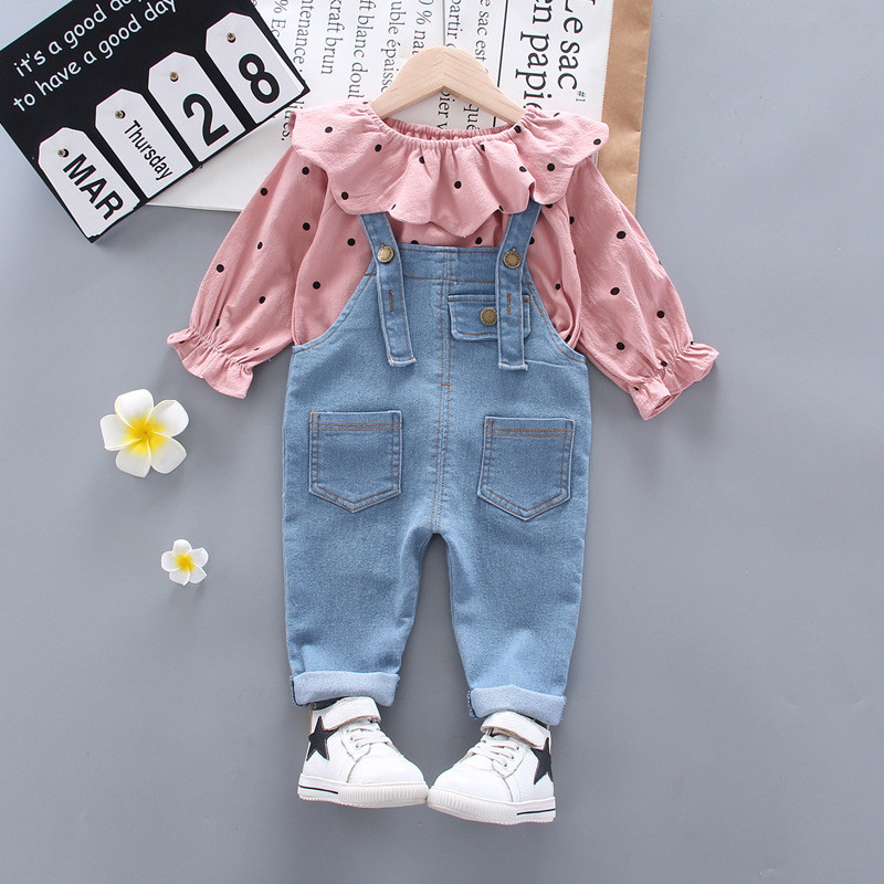 Baby Girl Clothes Sets For Children Strawberry Turndown Collar T-shirt Jeans Pants Cute Toddler Girls Baby Suit for Kid