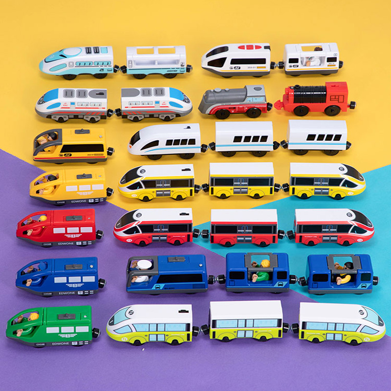 FIT For Car Toy Track Brio Train Blue Red Tracks Combination Electric Locomotive Toys For Kids Electric Train For Wooden Track