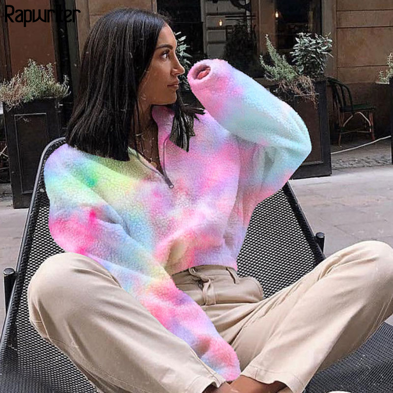 Rapwriter Fashion Colorful Warm Turtleneck Long Sleeve Short Fur Sweatshirt Women 2019 Fall Winter Harajuku Crop Pullovers Top
