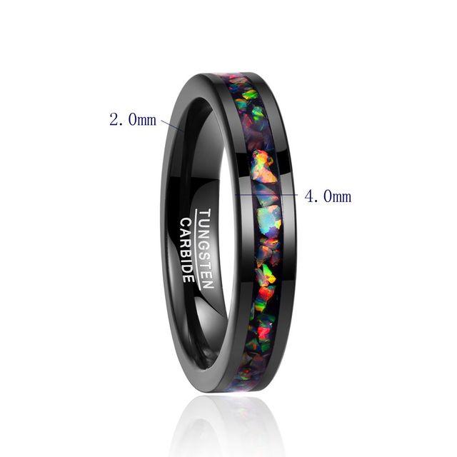 Nuncad nouvelle mode chaude Simple 4MM large incrusté opale noir anneaux de mariage bague en carbure de tungstène hommes T091R bijoux