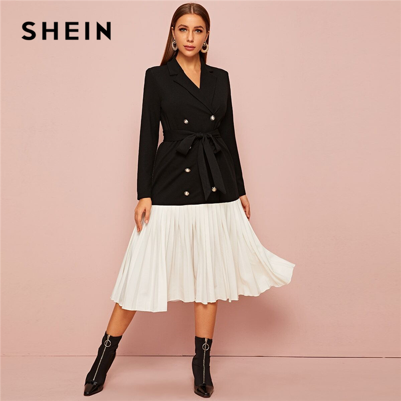 SHEIN Notched Collar Double Breasted Pleated Hem Belted Elegant Dress Women Autumn Long Sleeve Colorblock Midi Blazer Dresses
