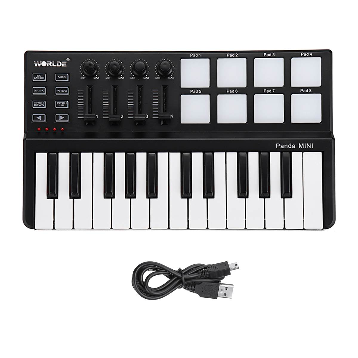Worlde Panda mini Portable Mini 25-Key USB Keyboard and Drum Pad MIDI Controller Professional Musical Instruments Black Color