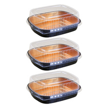3 Sets Disposable Japanese Cuisine Box Salad Packing Box (770ml+Transparent Lid)