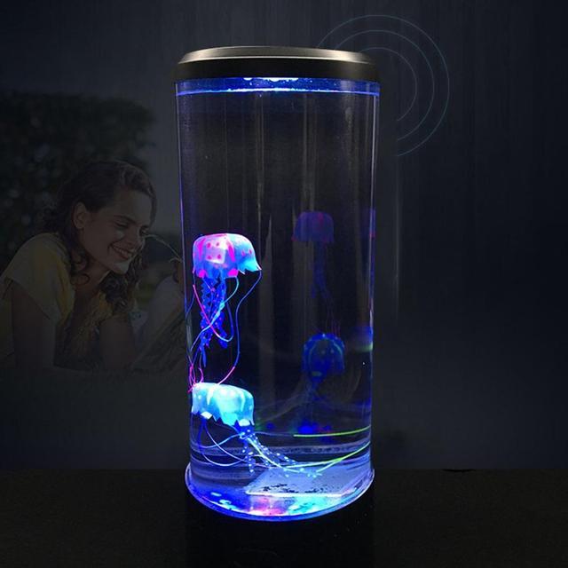 Büyük boy LED denizanası ışık masa masaüstü dekoratif gece lambası çocuk çocuk hediyeler rahatlatıcı ruh hali lamba ev yatak odası dekoru