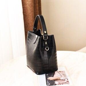 Image 2 - ZMQN Black Bucket Bags Women Crocodile Leather Crossbody Bags Luxury Handbags Ladies Hand Bags Shoulder 2020 Bolsa Feminina A583