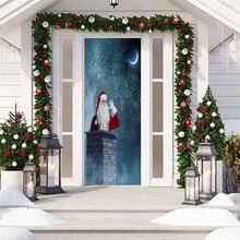 3D Рождественское украшение для гостиной, двери, стены, фреска, Рождественское украшение