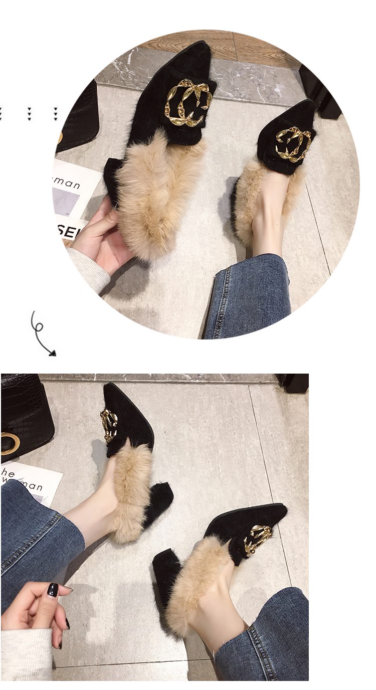 Trendy British Style shoes women women pumps Winter Fur Slides flock pointed toe metal decoration square heels Sleeve Tassel 27