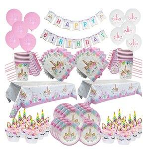 Image 3 - Украшение на день рождения, Радужный Единорог, 3 уровневая бумажная подставка для торта, детский праздник, бумажные тарелки в виде единорога, чашка, воздушные шары