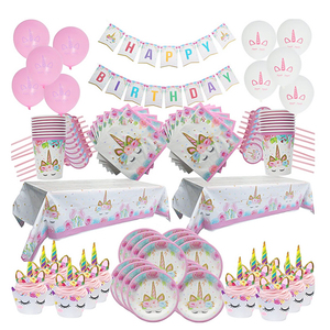Image 3 - Birthday Party Decoration Rainbow Unicorn 3 tier Paper Cake Stand Baby Shower Unicornio Party Paper plates cup Balloon Supplies