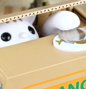 Caja de dinero con Gato bonito, caja de dinero, dibujos animados, regalo de cumpleaños para niños, hucha creativa para niños, Alcancia electrónica, jardín de casa BE50MB