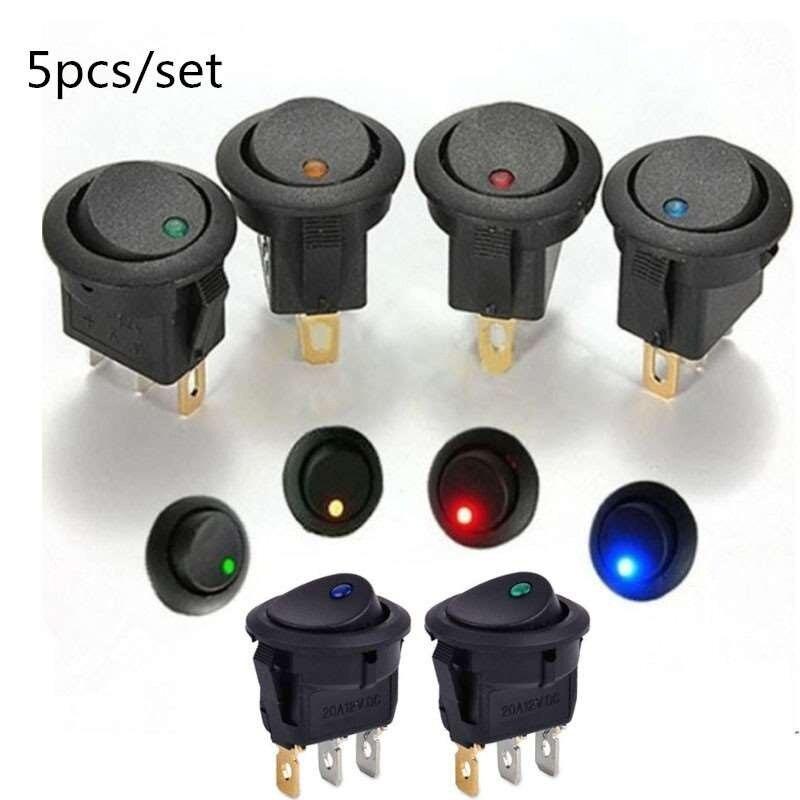 5 шт./компл. ВКЛ./ВЫКЛ. 12 В круглый клавишный точечный переключатель водонепроницаемый светодиодный светильник люминесцентные переключател...