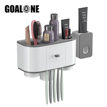 Wall Mount Toothbrush Holder Automatic Toothpaste Dispenser with Cup Toiletries Storage Rack Bathroom Accessories Set