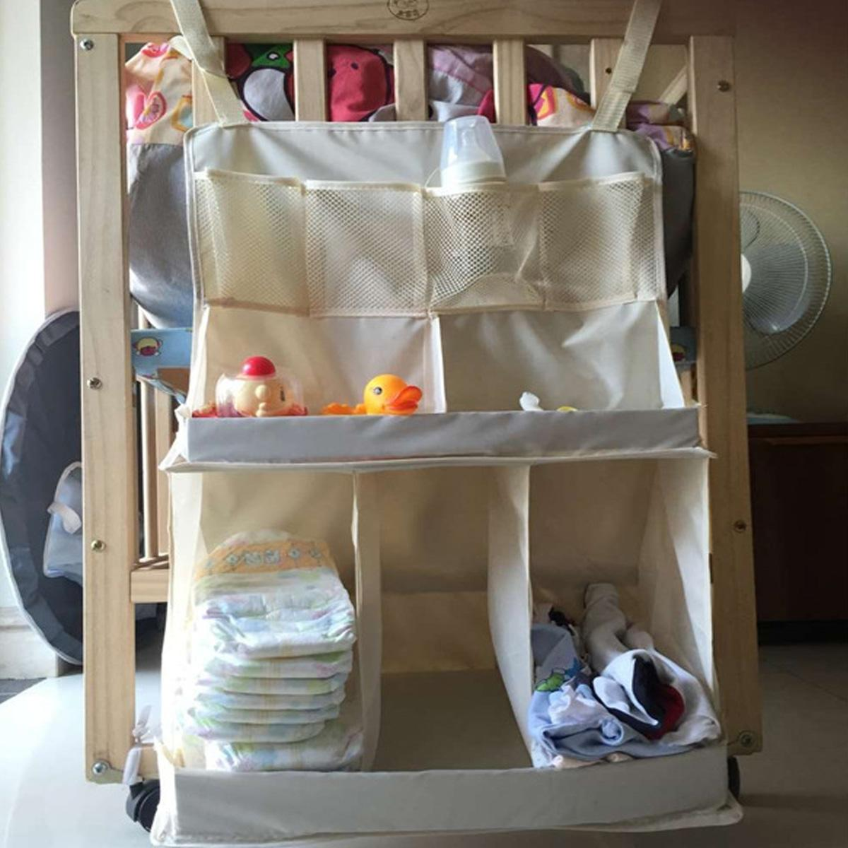 Baby Bed Hanging Organizer Bag Waterproof Baby Diapers Clothes Feeding Bottle Toys AccessoriesOrganizer Bag For Crib Bed