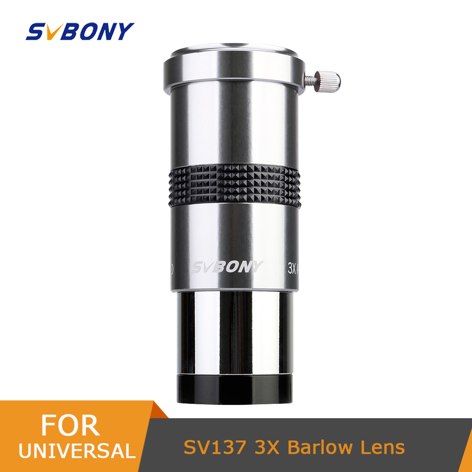 SVBONY 1 25inch 3X Barlow Lens Fully Multi-Coated Metal with M42x0 75 Thread Camera Connect Interface for Telescope Eyepieces W9106