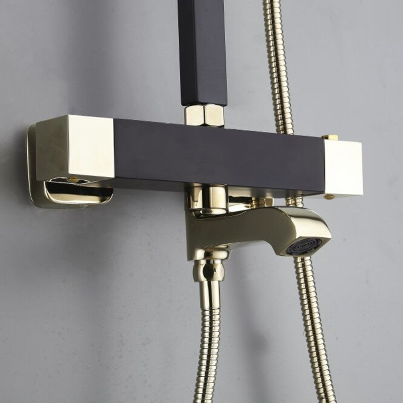 H45611596940443f2b87e4ffc3ce159b6E New Thermostatic Shower Faucet Bathroom Faucet Waterfall Bathtub Shower Mixer Taps Black And Gold Wall Mounted Washing Faucet