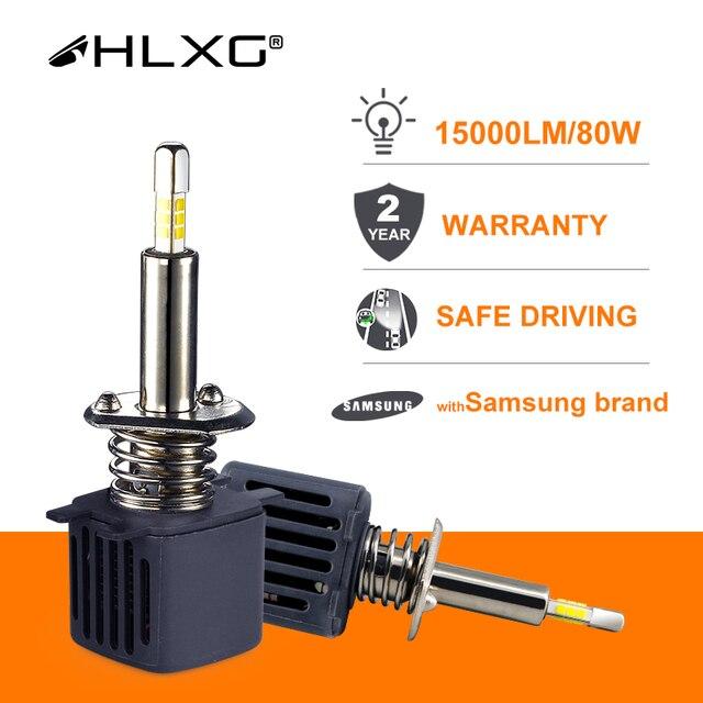 Hlxg bombilla Led antiniebla para coche, con Chip SAMSUNG CSP, H4, LED H7, 4 lados 9005 HB3, H11 H8 H1, 15000LM, 80W, 6500k