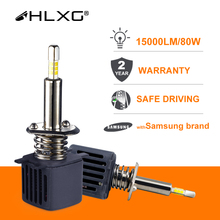 Hlxg com samsung csp chip h4 led h7 4 lados 9005 hb3 led h11 h8 h1 lâmpada luzes do carro 15000lm 80w 6500k luzes de nevoeiro led automotivo