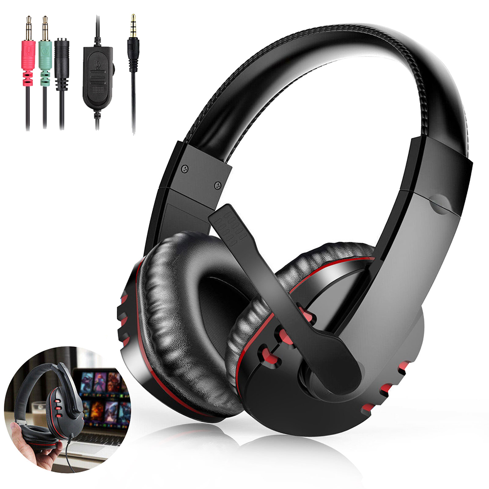 Stereo Gaming Headset For PS4 Xbox One Noise Cancelling Over Ear Headphones With Mic Bass Surround