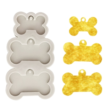 DIY Dog Tag Bone Shaped Keychain Casting Silicone Mould Crafts Key Chain Pendant Making Tools Crystal Epoxy Resin Mold