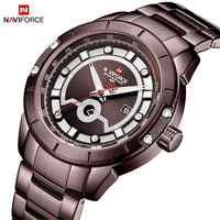 Новые часы NAVIFORCE для мужчин s Топ люксовый бренд Мужские часы с полностью стальным корпусом кварцевые часы аналог водонепроницаемые спортив...