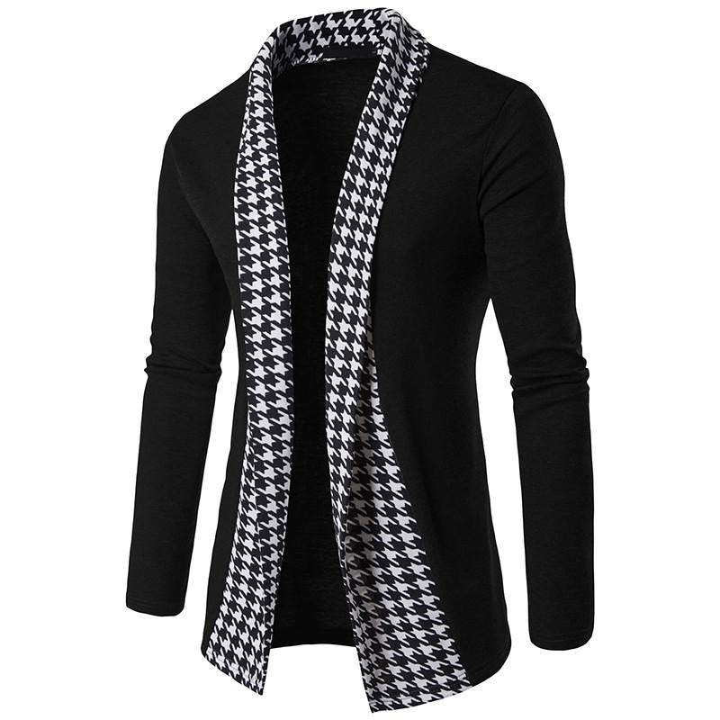Autumn Winter Cotton Cardigan Long Sleeve Mandarin Collar Spcious Patchwork Fashion Sweater Knitted Casual Male Coats Hot Sale