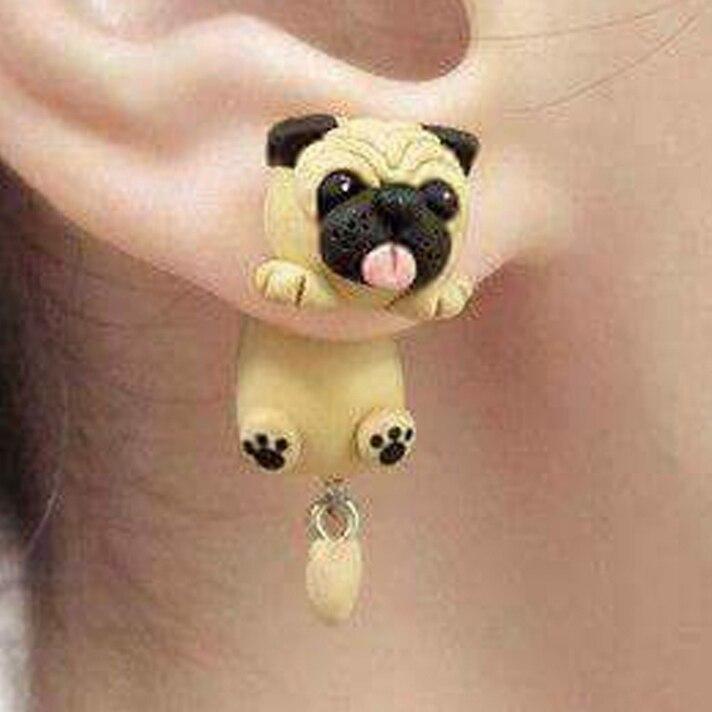 Fashion Cute Handmade Polymer Clay Soft Cute Sharpei Pug Dog Earrings For Women Cartoon Animal Stud Earring Jewelry Gift