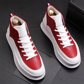 Męskie buty wiosna jesień na co dzień skórzane buty męskie mokasyny skórzane buty męskie wysokiej pomocy Sneakers Hip-Hop buty męskie buty tanie i dobre opinie Ktip up Gumowe Dla dorosłych Stałe Wiosna jesień Skóra bydlęca Prawdziwej skóry Oddychająca Świńskiej Przypadkowi buty