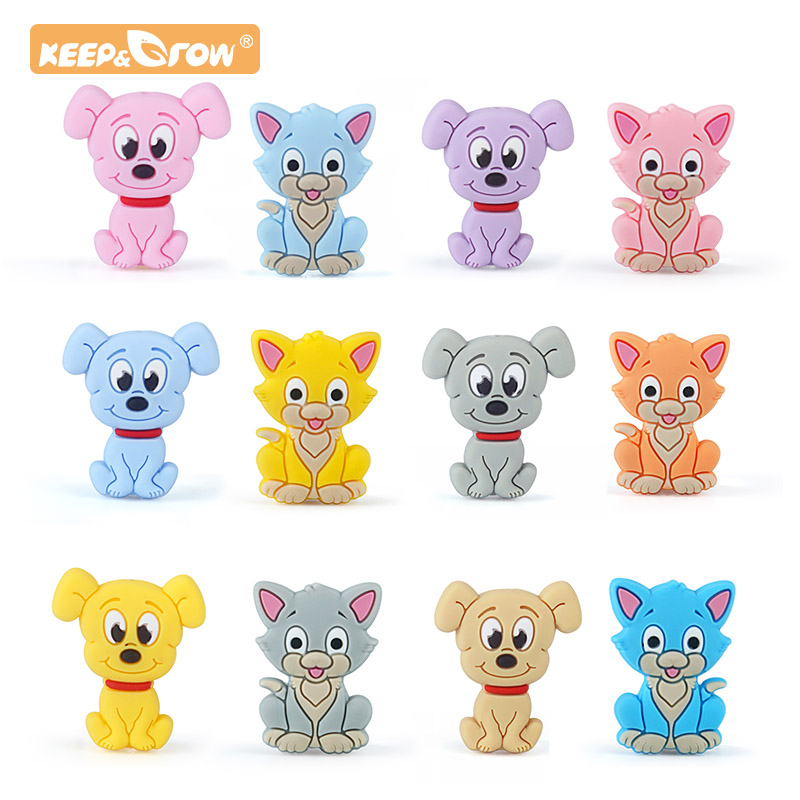 Keep&Grow 10pcs Cartoon Dog Cat Silicone Beads Baby Teether DIY Toy Necklace Pendant Rodent  Pacifier Chain Children's Products