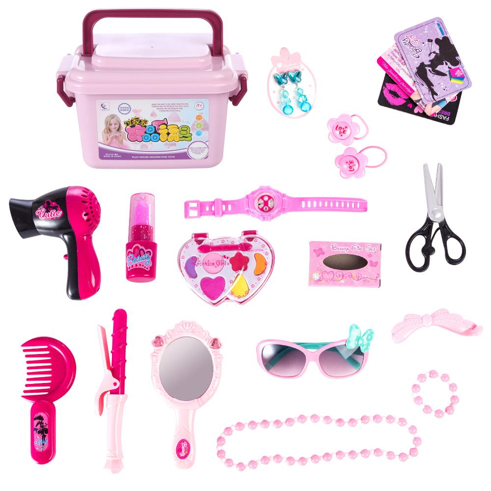 21Pcs Standard Version Children Pretend & Play Toys Hair Cosmetics Toys For Girls Kids Playing Makeup Kits